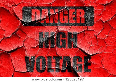 Grunge cracked high voltage sign with some soft smooth lines