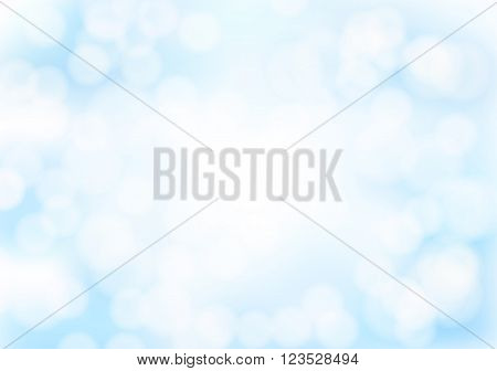 Abstract blue bokeh background with blurred light effects. Glowing light in blue sky abstract horizontal backdrop for Your design. vector illustration
