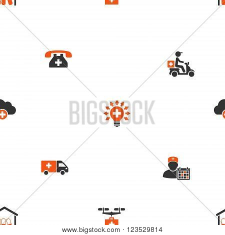Medical Shipment vector repeatable pattern. Style is flat orange and gray icon symbols on a white background.