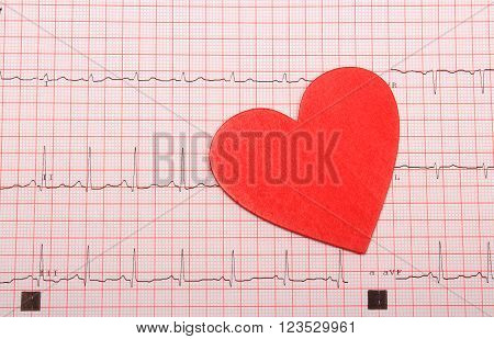 Electrocardiogram graph and heart shape, ekg heart rhythm, medicine concept