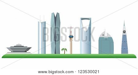 Riyadh Saudi Arabia skyline color silhouette vector