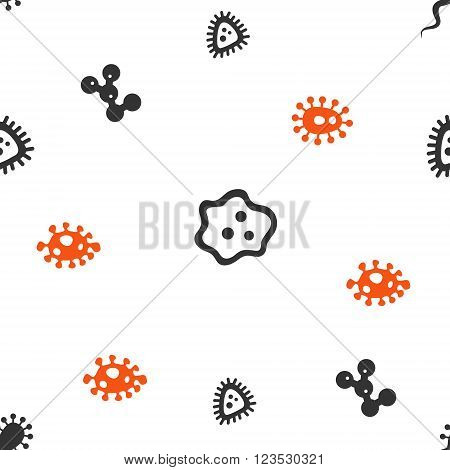 Microbe vector repeatable pattern. Style is flat orange and gray icon symbols on a white background.