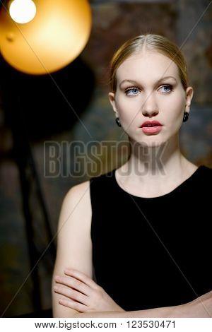 Portrait of elegant nordic type woman in makeup.