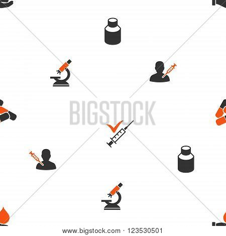 Vaccine Labs vector repeatable pattern. Style is flat orange and gray icon symbols on a white background.