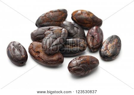 peeled roasted cacao cocoa beans on white background