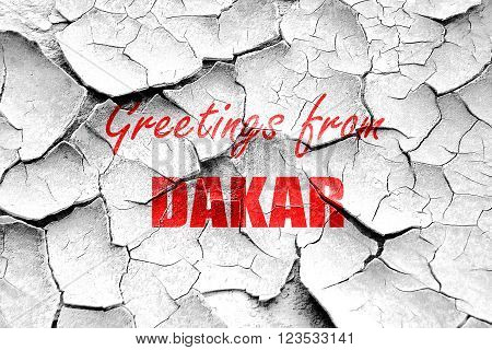 Grunge cracked Greetings from dakar with some smooth lines