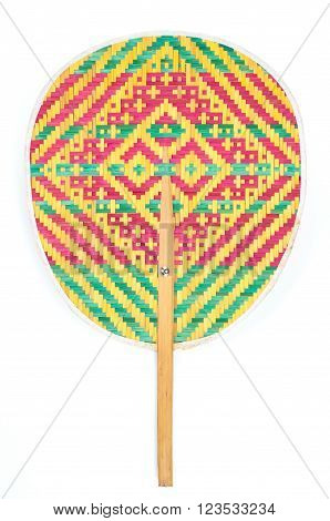 Color weave bamboo traditional hand fan, thai style hand fan on white background.