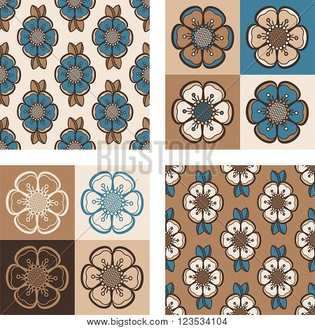 Set of geometrical pattern with abstract flowers seamless vector backgrounds. For fashion textile cloth backgrounds. Retro colors - brown teal.