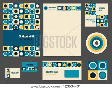 Corporate identity for company or event. Vector template for business stationery set. Vector illustration in teal and yellow colors with geometric patterns.