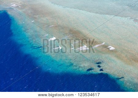 Beautiful view of coral reef at Palau islands from above