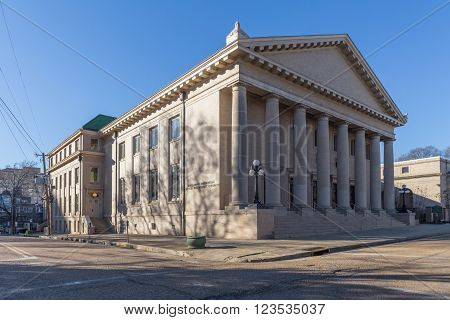 Jackson MS/USA - circa February 2016: Old Classical Building in Downtown Jackson Mississippi