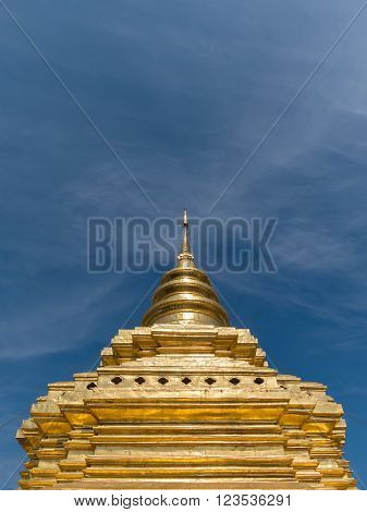 Pagoda or Chedi at Wat Phra That Sri Chom Thong vora vihan in Chiangmai Thailand