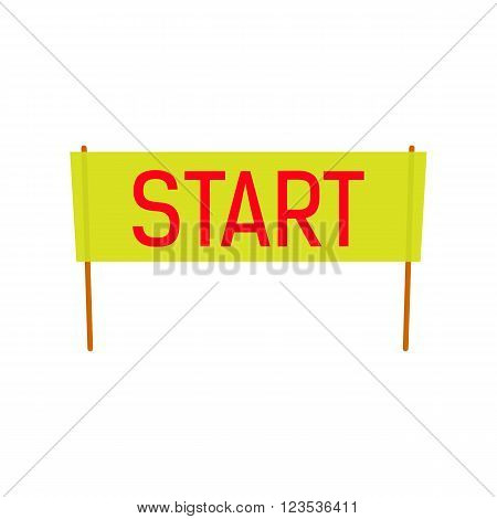 Start Banner vector illustration for spring and summer season design. Red start word. Flat style. starting line horisontal tape.