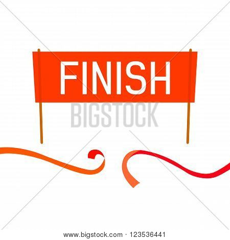 Finish Banner vector illustration for spring and summer season design. Red finish word. Flat style. End of race, track, sprint.
