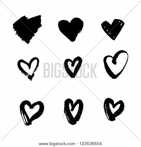 Heart Icons Set, hand drawn icons and illustrations for valentines and wedding design. Sketch grunge hearts for modern hipster art. Black ink vector love symbol. Textile and wallpaper design elements.