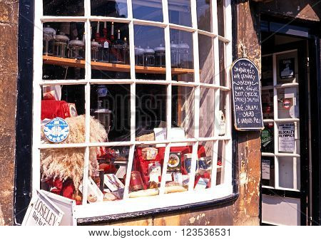 CHIPPING CAMPDEN, UK - AUGUST 12, 1993 - View of an old fashioned Cotswold tourist shop window Chipping Campden Gloucestershire Cotswolds England UK Western Europe, August 12, 1993.