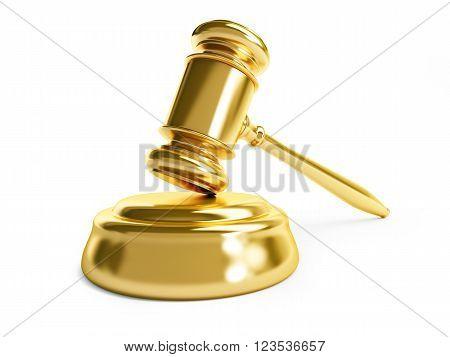 gavel law gold on a white background - 3D illustration