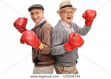 Two senior gentlemen posing together with boxing gloves isolated on white background