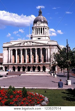 NOTTINGHAM, UK - MAY 16, 1992 - View of the Council House in the old Market Square with pretty flowerbeds in the foreground Nottingham Nottinghamshire England UK Western Europe, May 16, 1992.