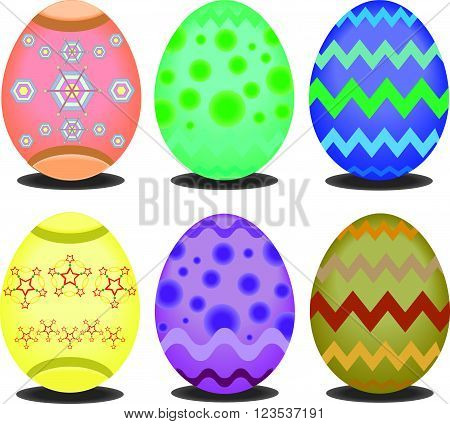 abstact easter eggs isolated on white background.