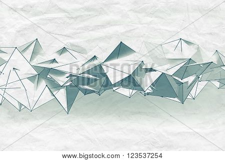 Abstract Futuristic Mesh Structure On Paper, 3D