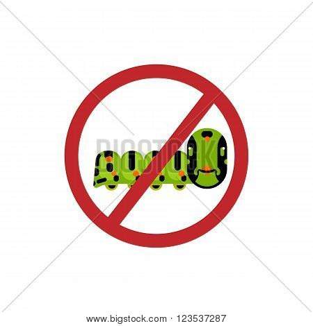 Caterpillar of the Maltese Swallowtail Butterfly eating fennel leaves. Abstract caterpillar flat design vector character.  Insecticide sign symbol. Ban sign. No entry caterpillars sign. Insect warning