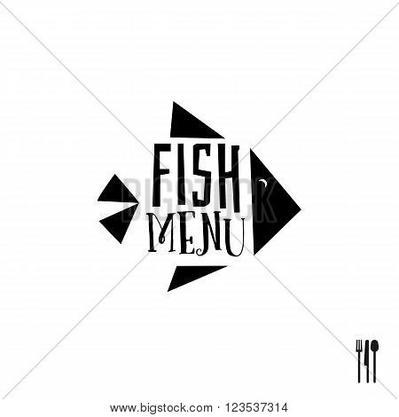 Fish menu flat design sign. Vector background for menu design. Flat simple creative concept for menu design. Seafood and fish restaurant sign.  Sea menu icon.