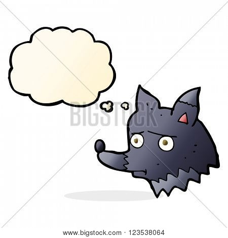cartoon unhappy dog with thought bubble