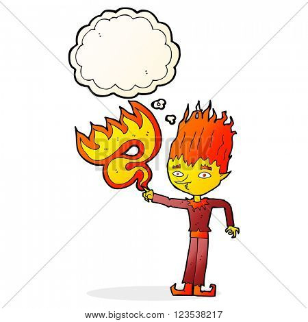 fire spirit cartoon with thought bubble