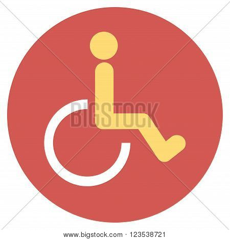 Disabled Person vector icon. Image style is a flat light icon symbol on a round red button. Disabled Person symbol.