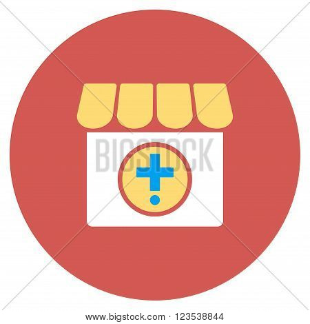 Drugstore vector icon. Image style is a flat light icon symbol on a round red button. Drugstore symbol.