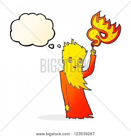 cartoon fire spirit with thought bubble