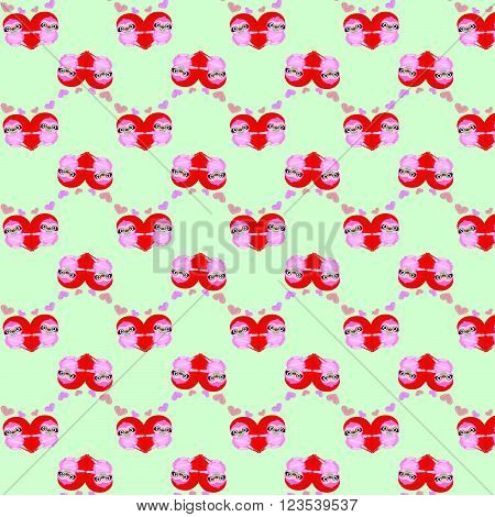 Vector pattern by Valentine's Day with cute cartoon sloth and hearts on white background.