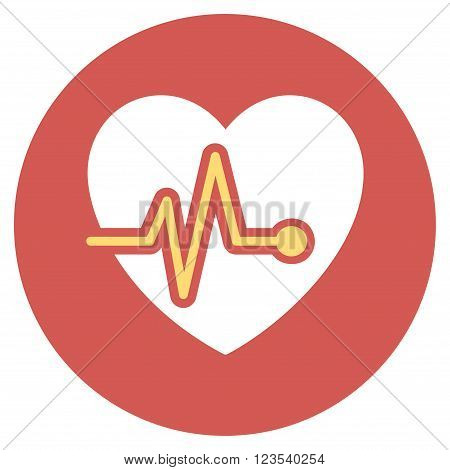 Heart Pulse vector icon. Image style is a flat light icon symbol on a round red button. Heart Pulse symbol.