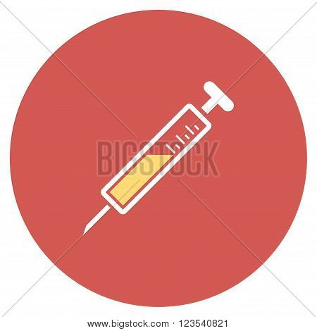 Injection vector icon. Image style is a flat light icon symbol on a round red button. Injection symbol.