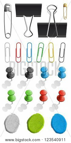 Elements for attaching paper. pin and paperclip set. Vector illustration isolated on white background.
