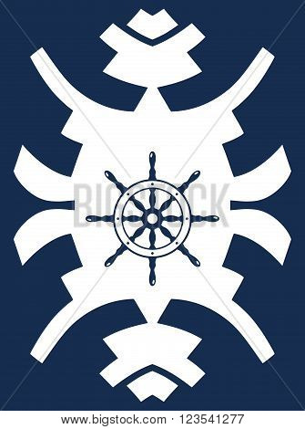 Navy blue and white hipster ornament with rudder. Ship steering wheel. Helm wheel.