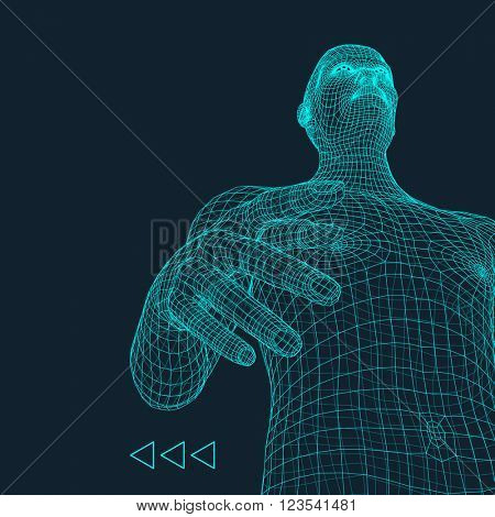 Man. 3D Model of Man. Human Body Model. Body Scanning. View of Human Body. 3D Geometric Design. 3d Covering Skin. Can be used for Avatar, Science, Technology and Business.