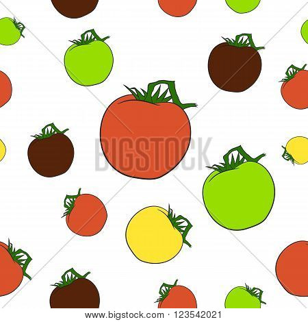 Fully vector seamles pattern with tomatoes in various colors