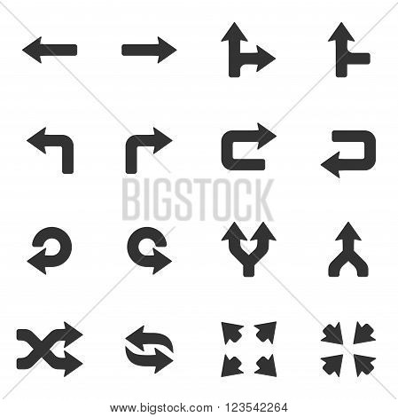 Arrows icons set. Vector illustration isolated on white background.