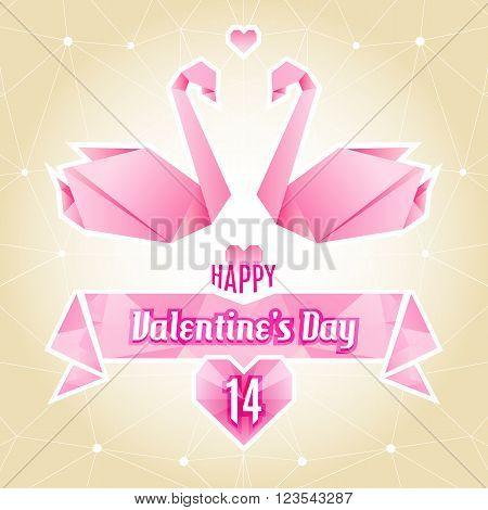 Happy Valentine's Day, valentine card, love, wedding, origami swan, paper cranes. Abstract geometric background, polygonal art. Vector illustration