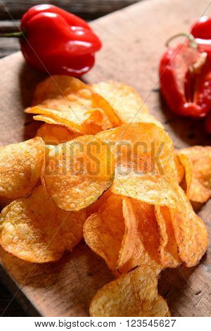 Potato chips snack with hot pepper spice
