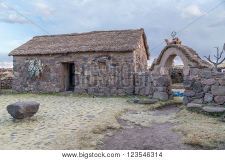 Cusco, Peru - Circa June 2015: Stone Hut House And Gate At The Peruvian Village In The Countryside,