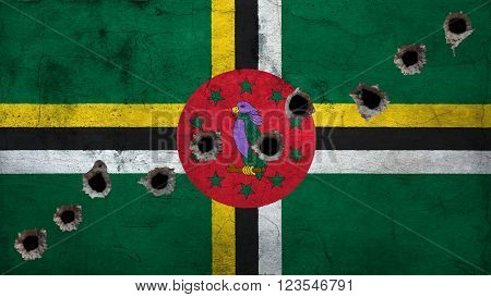 Flag of Dominica, Dominican Flag painted on wall with bullet holes
