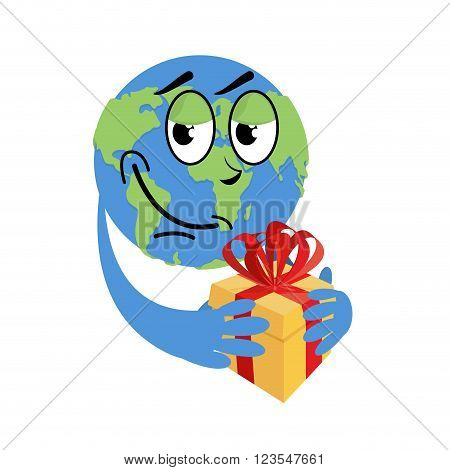 Earth Day. Earth And Gift. Holiday Yellow Box With Red Bow. Day Of  Birth Of   Earth. Hilarious Glob
