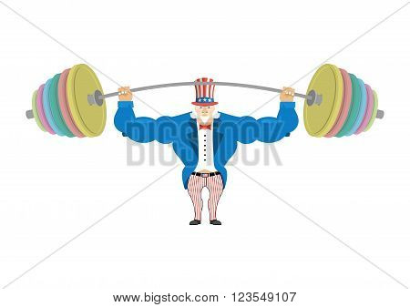 Uncle Sam And Sports Barbell. Powerful Uncle Sam. Strong Uncle Sam Goes In For Sports. Strong Americ