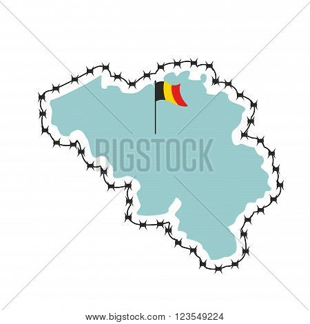 Belgium Map. Map Of States With Barbed Wire. Country Closes Border Against Refugees. European Countr