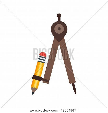 Mathematics, draw, compass icon vector image. Can also be used for stationery. Suitable for mobile apps, web apps and print media.