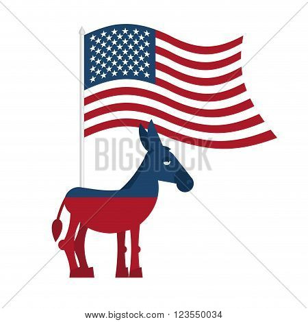 Donkey Democrat. Symbol Of Political Party In America. Political Illustration For Elections In Ameri