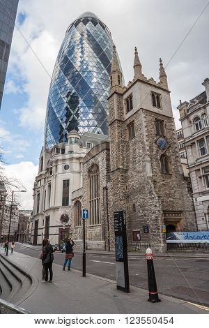 London, Uk - Circa March 2012: 30 St Mary Axe Also Known As The Gherkin And Swiss Re Building In  Lo